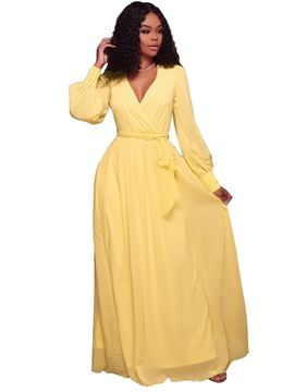 ericdress v-neck manches longues simple maxi robe