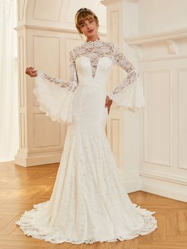Ericdress Long Sleeves Lace Mermaid Vintage Wedding Dress