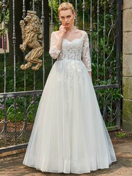 Ericdress Sweetheart A Line 3/4 Length Sleeves Appliques Tulle Wedding Dress