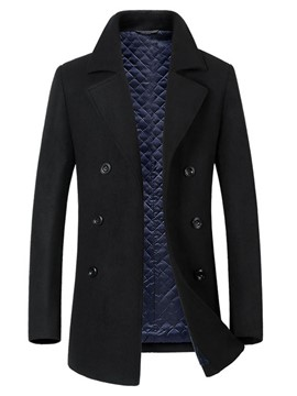 Ericdress Plain Lapel Double-Breasted Slim Men's Wool Coat