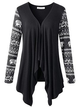 Ericdress Print Patchwork Mid-Length Cardigan Knitwear