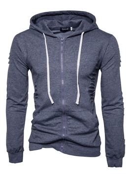 Ericdress Hooded Lace-Up Slim Zipper Men's Hoodie