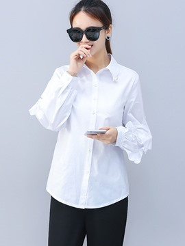 Ericdress Lapel Mid-Length Lantern Sleeve Blouse