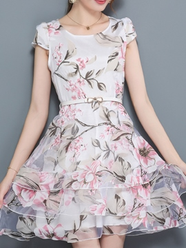Ericdress Scoop Foral Print Organza Layered Dress
