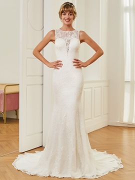 Ericdress Mermaid Lace Sleeveless Court Train Wedding Dress