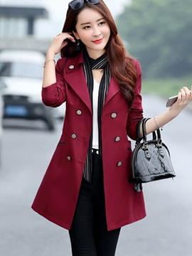 Ericdress Plain Double-Breasted Mid-Length Trench Coat