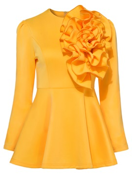 Women's Clothing Yellow Peplum Ruffles Top