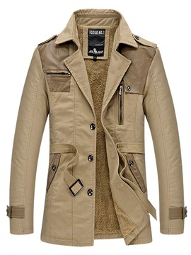 Ericdress Flocking Warm Vogue Patched Lapel Slim Men's Trench Coat