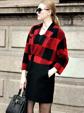 Ericdress Plus-Size Plaid Color Block Coat