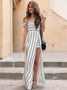 Ericdress Off-the-Shoulder Striped With Side Slit Maxi Dress