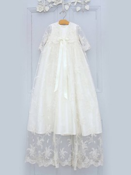 Ericdress Jewel A Line Lace Short Sleeves Baby Christening Gown
