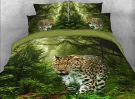 Vivilinen 3D Leopard Walking in the Forest Printed 4-Piece Bedding Sets/Duvet Covers