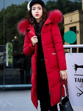 Ericdress Plain Fur Collar Mid-Length Down Coat