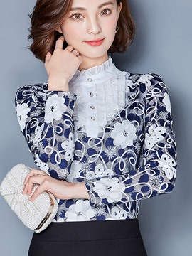 Ericdress floral lace print bluse
