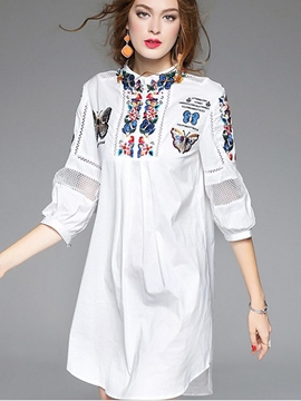 Ericdress Lantern Sleeve Above Knee Embroidery Casual Dress