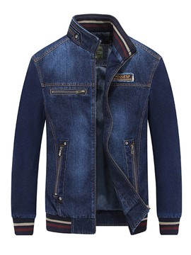 Ericdress Zip Denim Vintage Casual Men's Jacket