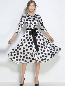 Ericdress Polka Dot Lace-Up Expansion A Line Dress