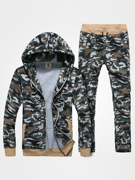 Ericdress Zip Camouflage Thicken Warm Casual Men's Suit