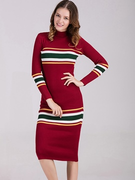 Ericdress High Neck Mid-Calf Striped Sweater Dress