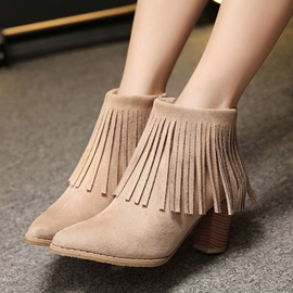 Ericdress Fringe Pointed Toe Plain Chunky Heel Boots