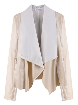 Ericdress Asymmetric Plain Lapel PU Jacket