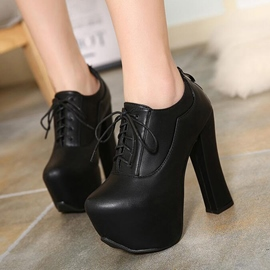 Ericdress Plain Platform Lace-Up High Heel Boots