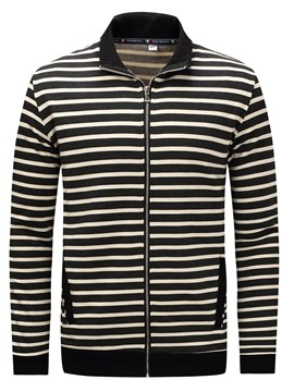 Ericdress Thciken Stripe Zip Casual Men's Jacket
