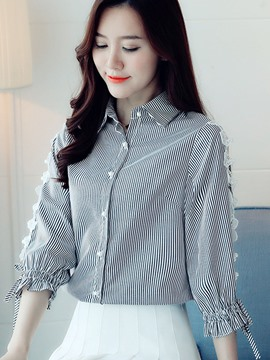 Ericdress Lace Bead Hollow Blouse