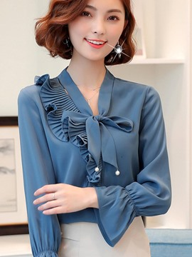 Ericdress Plain Bowknot Pleated Bead Blouse