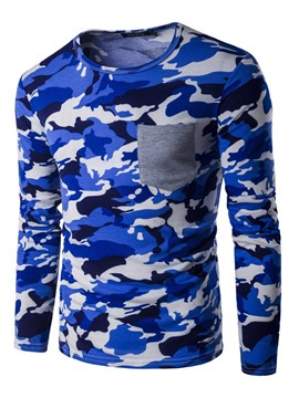 Ericdress Camouflage Pocket Patched Long Sleeve Slim Men's T-Shirt