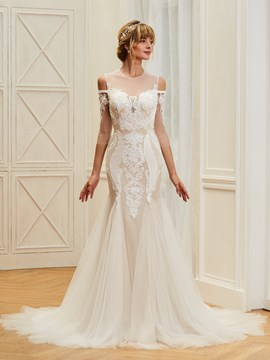Ericdress Jewel Mermaid Appliques 3/4 Length Sleeves Tulle Wedding Dress
