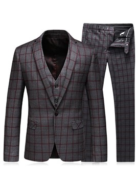 Ericdress Three-Piece of Business Casual Plaid Men's Suit