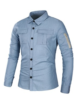 Ericdress Plain Long Sleeve Pocket Patched Denim Casual Men's Shirt