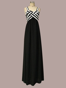 Ericdress Spaghetti Strap Floor-Length Striped Maxi Dress