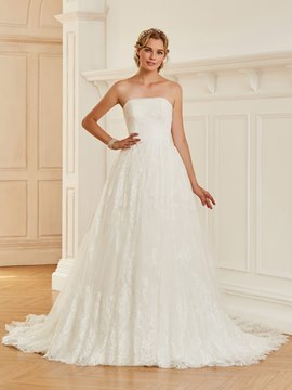 Ericdress Strapless Lace Ball Gown Wedding Dress