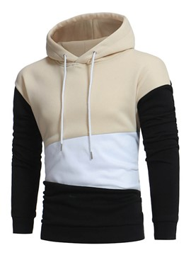 Ericdress Color Block Patched Pullover Men's Hoodie