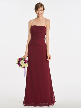 Ericdress Strapless Sheath Pleats Long Bridesmaid Dress