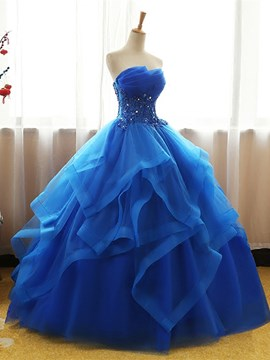 Ericdress trägerlosen applique wulst ball quinceanera kleid