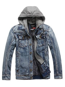 Ericdress Hood Patched Denim Casual Men's Jacket