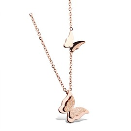 MarkChic Amazing Butterfly Pendant 18K Rose Gold Necklace
