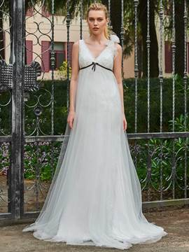 Ericdress V Neck Empire Sheath Tulle Wedding Dress