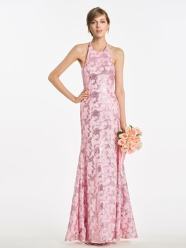 Ericdress Halter Sheath Long Sequins Bridesmaid Dress