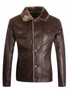 Ericdress Single-Breasted Pocket Flocking Warm PU Men's Jacket