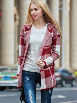 Ericdress Loose Plaid Mid-Length Cardigan Knitwear