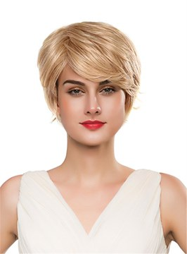 Ericdress Short Side Wavy Human Hair Capless Wig 10 Inches