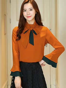Ericdress Lace-Up Bowknot Flare Sleeve Blouse