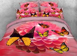 Vivilinen 3D Dahlia and Butterfly Printed Cotton 4-Piece Bedding Sets/Duvet Covers