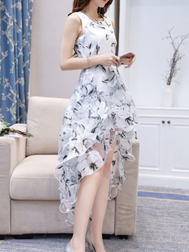 Ericdress High-Low Floral Print Organza A Line Dress