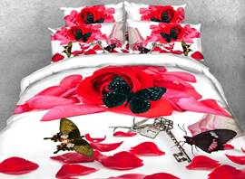 Vivilinen 3D Red Rose and Butterfly Printed 4-Piece White Bedding Sets/Duvet Covers