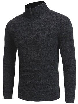 Ericdress Plain Zip High Collar Warm Slim Men's Sweater